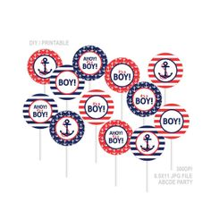 Instant Download Cupcake Toppers Baby Shower decorations Ahoy Its a boy Nautical baby Shower DIY Printable (PDN008) on Etsy, $3.00