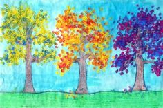 Fall Tree Paintings while learning about Primary and Secondary Colors!
