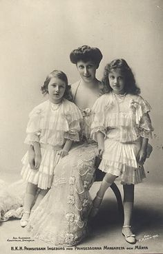 Princess Ingeborg of Sweden with Princess Marta and Princess Margareta.