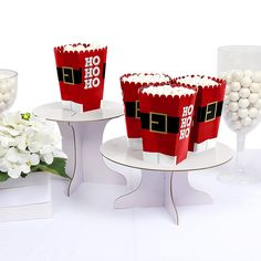 Jolly Santa - Personalized Christmas Party Popcorn Favor Boxes | BigDotOfHappiness.com