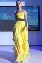 yellow strapless