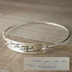 Handwritten Jewelry - Large Open Latch Plate Bracelet