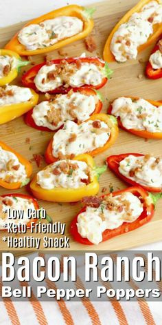 Bacon Ranch Bell Pepper Poppers Having healthy snacks readily available will help keep you fueled and on track! These Bacon Ranch Bell Pepper Poppers can easily be made ahead of time and make the perfect low carb recipe for snacking and entertaining! Low Carb Appetizers, Appetizer Recipes, Low Carb Keto, Low Carb Recipes, Pepper Poppers, Keto Snacks, Healthy Low Carb Snacks, Healthy Snacks For Parties, Recipes For Snacks
