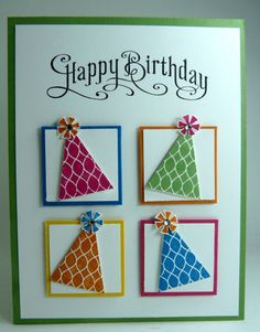 birthday card ... bright four square with punched party hats in primary colors ... Stampin' Up!