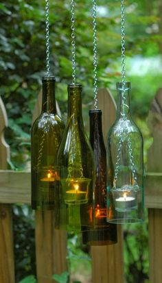 Is your recycling bin overflowing with old wine, beer, and soda bottles? Glass bottles fill local dumps and monster landfill sites all over the world. Instead of tossing those old wine bottles, use them in a variety of wine bottle crafts. Wine Bottle Lanterns, Old Wine Bottles, Glass Bottle Crafts, Wine Bottle Art, Bottles And Jars, Soda Bottles, Bottle Candles, Diy With Glass Bottles, Crafts With Wine Bottles