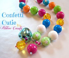 Confetti Cutie Chunky Necklace for Girls - Aqua Jingle Bell - Multicolor Rainbow, Birthday Necklace, toddler jewelry