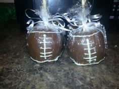 Football themed candy apples