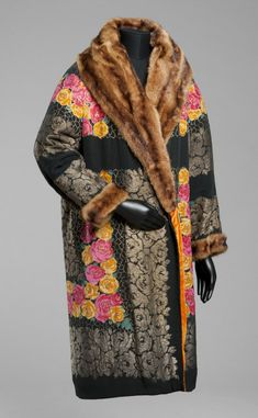 Woman's Coat, printed silk faille with metallic complementary wefts, muskrat fur, silk velvet, Louis et Cie, Paris, 1923, Philadelphia Museum of Art