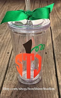 Circle Monogram Pumpkin Tumbler 16 oz. by sonshinestudios on Etsy