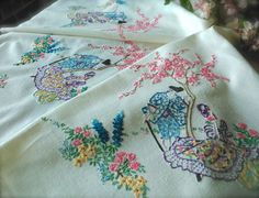 embroidered tablecloths ...