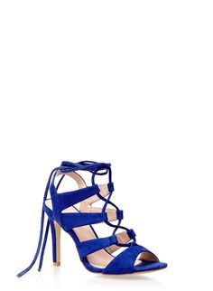 Rainbow Lace Up High Heel Sandals in Faux Suede | A classic strappy high-heel sandal is elevated with a faux-suede finish. Featuring cutout sides and a slingback strap, this captivating open-toe style with a moderate heel ties around the ankle for an alluring look.