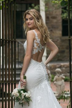 1fa3250ac6089 Sincerity Bridal Style 44062 - Keyhole back wedding dress with ruching  details. Lace fit and flare wedding dress.