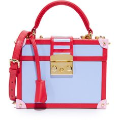 Mayra Fedane Lilly Trunk Bag ($1,065) ❤ liked on Polyvore featuring bags, handbags, mini purse, multi colored handbags, leather purses, blue leather purse and blue handbags