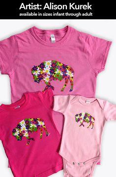 The prettiest Buffaloes around... Girl Youth T-shirt Flower Buffalo Alison Kurek pink colorful mosaic flowers pretty by InspiredBuffalo on Etsy https://www.etsy.com/listing/210152430/girl-youth-t-shirt-flower-buffalo-alison