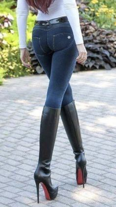 Find a wonderful variety of women's knee high footwear, browse terrorist, pour, cycling footwear and a lot more. Brown Knee High Boots, Thigh High Boots Heels, Stiletto Boots, High Heels, Tights Outfit, Denim Outfit, Mode Disco, Sexy Boots, Sexy Jeans