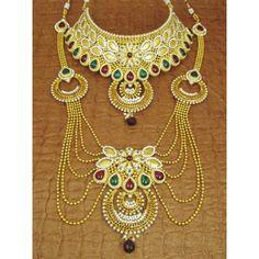 Designer Indian Polki Bridal Jewellery Sets - 83576 (SD-Complete Bridal Necklaces Sets)