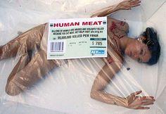 """La Peta, un'organizzazione americana che protegge gli animali, ha lanciato una campagna di guerrilla in molte piazze del mondo, che trasforma il carnefice in vittima recitando """"Billions of animals are abused and violently killed because you eat meat. Get help! Visit alv.org.au… 55,000,000 killed per year."""" – """"Miliardi di animali vengono maltrattati e uccisi violentemente, perché si mangia carne. Fatti aiutare! Visita alv.org.au ... 55 milioni uccisi ogni anno."""" L'effetto è a dir poco forte…"""