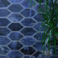 Adorno Hexagon Blue 7x13 Matte Porcelain Tile | Tilebar.com Wall And Floor Tiles, Wall Tiles, Glazed Ceramic Tile, Deco Blue, Encaustic Tile, Hexagon Tiles, Blue Tiles, Commercial Flooring, Shower Floor