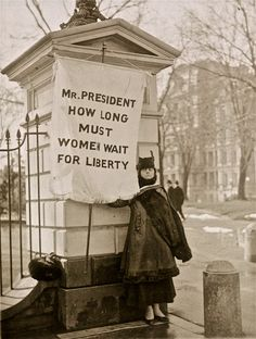 Alison Turnbull Hopkins picketing for suffrage outside the White House gates (7 Feb 1917)