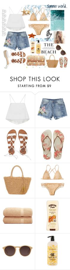 """""""Beach 🌊"""" by yumyv ❤ liked on Polyvore featuring A.L.C., Billabong, Havaianas, Sun N' Sand, Linum Home Textiles, Hawaiian Tropic, Suarez, H&M, Ace and Bumble and bumble"""