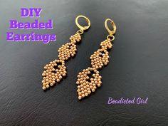 Beaded Earrings Patterns, Seed Bead Earrings, Diy Earrings, Beading Patterns, Beaded Necklace, Beaded Bracelets, Hoop Earrings, Earring Tutorial, Bracelet Tutorial