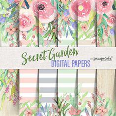 Floral Digitalpapier: Aquarell/Streifen-Pastelle erröten