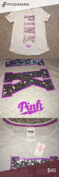 NWT PINK VICTORIA'S SECRET SEQUINED TEE SHIRT Wow! Stunning t-shirt that has so much sequin, you'll be sure to shine ✨ PINK Victoria's Secret Tops Tees - Short Sleeve