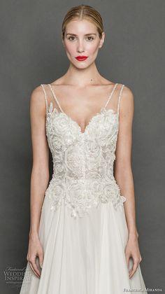 francesca miranda fall 2017 bridal sleeveless thick strap v neck heavily embellished bodice romantic elegant a  line wedding dress chapel train (flora) zv