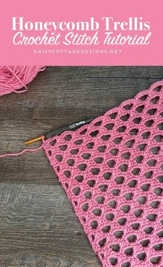 Learn how to create this beautiful open honeycomb crochet stitch with this crochet tutorial from Daisy Cottage Designs.