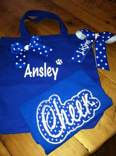 Cheerleading bag, bow and shirt