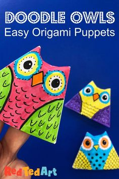 Red Ted Art's Easy Paper Owl Finger Puppet! We love making paper finger puppets. These owls are so easy to make and super fun to decorate. Use scrap paper and get creative. Such a fun little Autumn Craft for kids!