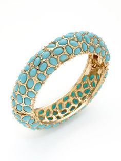 Turquoise Cabochon Hinged Bangle by Kenneth Jay Lane on Gilt.com