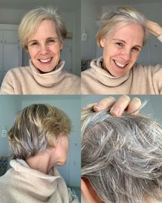 Transitioning into gray hair - 40plusstyle.com Going Gray, Gray Hair, Your Hair, Cool Hairstyles, Dreadlocks, Grey, Hair Styles, Beauty, Women