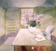 'Flowers on Cottage Table' by Eric Ravilious +