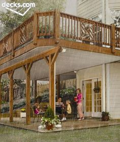 With special construction using an under deck drainage system, the area beneath a deck can be used, rain or shine.