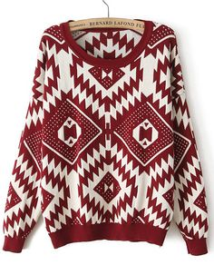 Dark Red Long Sleeve Geometric Pattern Sweater US$29.37