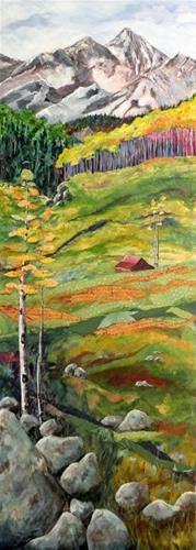 """THE RED BARN ORIGINAL MIXED MEDIA ON PANEL © SAUNDRA LANE GALLOWAY"" - Original Fine Art for Sale - © Saundra Lane Galloway"