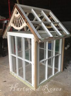 Mini Greenhouse made from Salvaged Windows . Hartwood Roses Mini Greenhouse made from Salvaged Win Old Window Greenhouse, Cheap Greenhouse, Greenhouse Interiors, Indoor Greenhouse, Backyard Greenhouse, Greenhouse Plans, Homemade Greenhouse, Portable Greenhouse, Backyard Playhouse