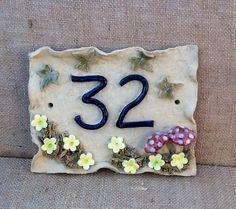 House number plaque mushroom design door number. by Sallyamoss, £22.00