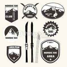 Clipart vectoriel : Set of nordic skiing design elements , badges and logo patches