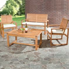 Wood Patio Set Furniture Outdoor Contemporary Dining Chairs Table Bench Seating