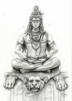 Lord Shiva Painting, Shiva Art, Meditation Shiva Portrait Duvet Cover by olechka Arte Shiva, Shiva Art, Hindu Art, Ganesha Tattoo Lotus, Lotus Tattoo, Lord Shiva Sketch, Mahadev Tattoo, Shiva Tattoo Design, Lord Shiva Hd Images