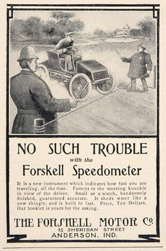 1902 The Forshell Motor Co. Ad- enjoy this Forshell Speedometer ad from a vintage 1902 magazine.