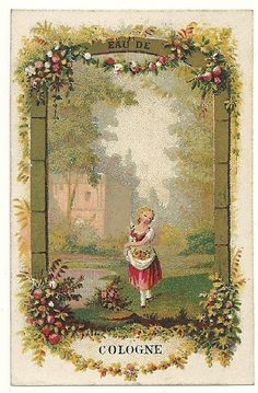 Lovely 1800's Stone Lithograph Eau De Cologne Label Young Girl Picking Flowers