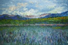 NH Sugar Hill lupines,original oil-acrylic on (no need frame) stretched canvas