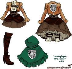 ;-; This is adorable... its like a girly version of the normal attack on titan survey corps uniform