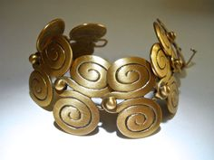 SMITHSONIAN Matte Gold Tone Bracelet African by RenaissanceFair