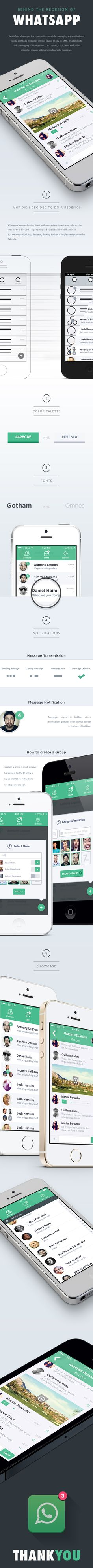 Ad design  Whatsapp Redesign by Guillaume Marc, via Behance
