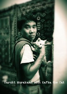 Haruki Murakami with cat. TOKYO, Jan 2015 (AFP) – Japanese novelist Haruki Murakami is to offer advice to troubled readers in an agony uncle column on his website, his publisher said Tues… Haruki Murakami, Celebrities With Cats, Image Chat, Book Writer, Cat People, I Love Cats, Famous People, Cat Lovers, Literature