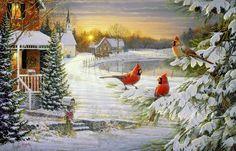 Snowy cardinals